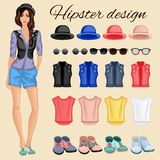 Hipster girl elements Stock Images