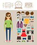 Hipster girl elements. Clothes, hairstyles and Royalty Free Stock Photo