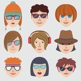 Hipster girl faces Royalty Free Stock Photography