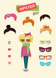 Hipster girl fashion set Stock Images