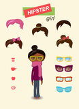 Hipster girl fashion set Stock Photos