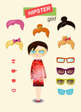 Hipster girl fashion set Royalty Free Stock Images