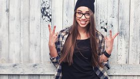 Hipster girl in glasses and black beanie Royalty Free Stock Photography