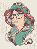 Hipster girl with glasses. Sexy hipster girl with hipster glasses fashion illustration Royalty Free Stock Photography