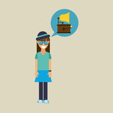 Hipster girl gramophone music retro Royalty Free Stock Images