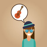 Hipster girl guitar music retro color vintage Royalty Free Stock Images