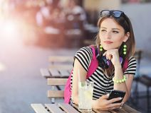 Hipster Girl Hold On Smartphone