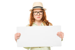 Hipster girl holds a poster Stock Images