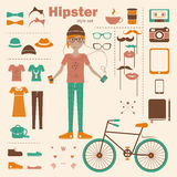 Hipster girl infographic concept background with i Stock Photo
