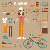 Hipster girl infographic concept background with i Stock Photography
