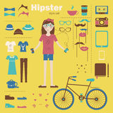 Hipster girl infographic concept background with i Royalty Free Stock Image