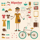 Hipster girl infographic concept background with i Royalty Free Stock Photos