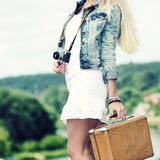 Hipster girl on a journey Royalty Free Stock Image