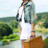 Hipster girl on a journey Royalty Free Stock Photography