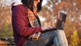 Hipster Girl With Laptop stock video footage