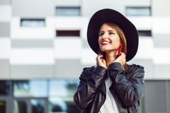 Hipster Girl in Leather Jacket Stock Image