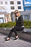 Hipster girl in  leather jacket Royalty Free Stock Photo