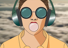 Hipster girl listening to music on headphones and chews cud. Vec Royalty Free Stock Images