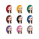 Hipster girl with long hair - 9 different hair colors. ( flat colors Stock Photography