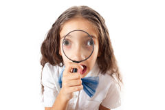 Hipster girl with loupe Royalty Free Stock Images
