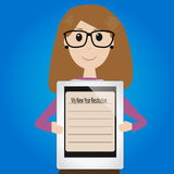 Hipster girl with new year resolution. On tablet royalty free illustration
