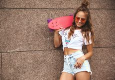Hipster girl with no makeup outdoors royalty free stock images