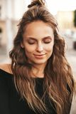 Hipster girl with no makeup outdoors royalty free stock photo