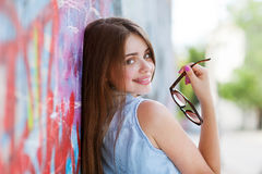 Hipster girl outdoors Stock Images