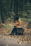 Hipster girl in a park Stock Photography