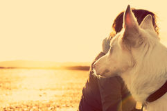 Hipster girl playing with dog at a beach during sunset, strong lens flare effect. With copy space Stock Photo
