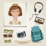 Hipster girl portrait with her accessories. Vector hipster girl portrait with her accessories Stock Photo