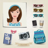 Hipster girl portrait with her accessories. Vector hipster girl portrait with her accessories Stock Images