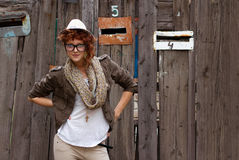 Hipster girl posing outdoors Royalty Free Stock Image