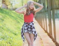 Hipster girl posing in summer Stock Image