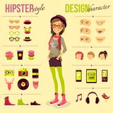 Hipster Girl Set Royalty Free Stock Photography
