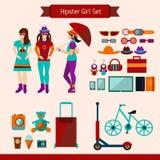 Hipster Girl Set Royalty Free Stock Photos