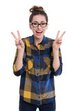 Hipster girl showing peace sign Royalty Free Stock Photo