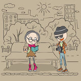Hipster girl sitting on a bench and drink coffee. The guy hipster photographs. Cartoon illustration in vector format vector illustration