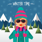 Hipster girl skier in flat style Royalty Free Stock Images
