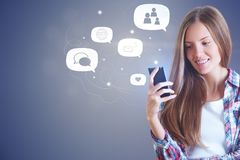 Hipster girl and social media icons royalty free stock photos