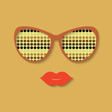 Hipster girl and sunglasses vector illustration