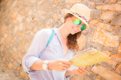 Hipster girl travel Royalty Free Stock Photos