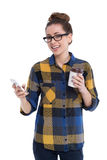 Hipster girl using smartphone Stock Photo