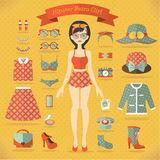 Hipster girl vector set Royalty Free Stock Images