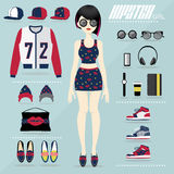 Hipster girl vector set Stock Photos
