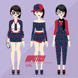 Hipster girl vector set Stock Photography