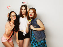 Hipster girls best friends ready for party Royalty Free Stock Photography