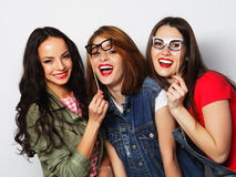 hipster girls best friends ready for party Stock Photos