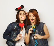 Hipster girls best friends ready for party Stock Photo