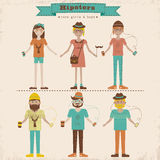 Hipster girls and boys set Royalty Free Stock Photography